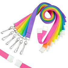 6 Pack of Bright Neon Neck Lanyards with Safety Breakaway Clasp by Specialist ID
