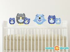 Sleepy Owl Fabric Wall Decals, Set of 6 Owls, 2 Color Options, 2 Size Options