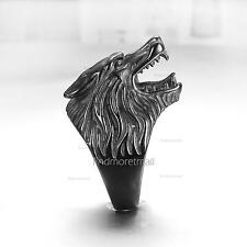 Werewolf Grinning 316L Stainless Steel Wolf Head Black Ring Mens MotorCycle Ring