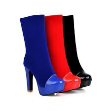 Women's Fashion Shoes Platform High Block Heels Mid Calf Boots AU All Size b416