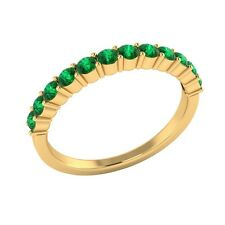 0.45 ct Natural Round Green Emerald Solid Gold Half Eternity Wedding Band Ring