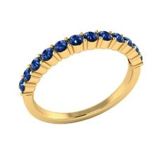 0.45 ct Natural Round Blue Sapphire Solid Gold Half Eternity Wedding Band Ring