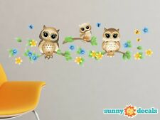Owls on a Branch Fabric Wall Decals, Set of 3 Owls with Branches - 4 Color Optio