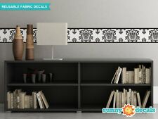 "Damask Wall Border Fabric Wall Decal - Set Of Two 25"" x 8"" Sections - 6 Color Op"