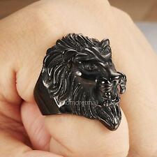 New Mens Jewelry 316L Stainless Steel Black Lion King Finger Ring Punk Men Ring