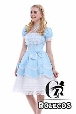 Lolita Pricess Dress Ladies Blue Sweet Short Sleeve with Bow Tie Cosplay Costume