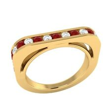 0.60 ct Real Red Ruby & Diamond Solid Gold Half Eternity Wedding Band