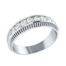 0.50 ct Real Round White Topaz Solid Gold Half Eternity Wedding Band Ring