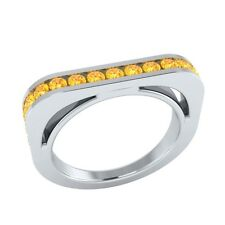 0.60 ct Natural Round Yellow Citrine Solid Gold Half Eternity Wedding Band Ring