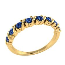 0.40 ct Natural Round Blue Sapphire Solid Gold Half Eternity Wedding Band Ring