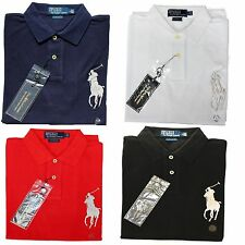 """NWT- POLO Ralph Lauren Big SILVER Pony Men's S/S Polo Shirt-Custom Fit : S - XL"