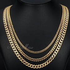 3/5/7mm MENS Chain Gold Tone Curb Link Stainless Steel Necklace 18-36inch HOT
