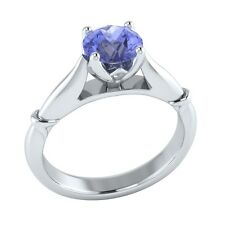 0.65 ct Solitaire Natural Blue Tanzanite Solid Gold Wedding Engagement Ring