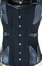 Gothic Steampunk Corset overbust faux leather Zipper Punk Goth Barleska