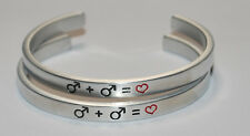 Male Symbol + Symbol = Heart SET ( Gay Male )    Engraved not Hand Stamped