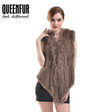 Queenfur Real Knit Rabbit Fur Vest Nature Raccoon Fur Waistcoat Luxury Fur Gilet