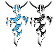 Unisex Stainless Steel Flame Cross Necklace Pendant Leather Chain Jewelry Gift