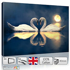DEEP BLUE LARGE SWANS MOONLIGHT MODERN - CANVAS WALL ART FRAMED PRINTS PICTURES