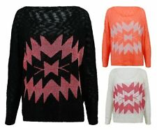 Ladies Womens Aztec Diamond Jumper Sparkle Pattern Light Summer Sweater Top