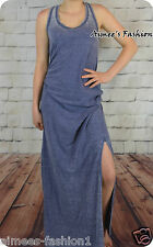 NEXT WASHED OUT BLUE SIDE SPLIT BEACH SUMMER MAXI DRESS NEW UK 14,16,18,20,22