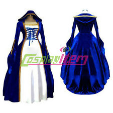 Blue Gothic Lolita Medieval Renaissance Victorian Ball Gown Dress Costume Custom
