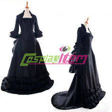 Black Gothic Lolita Medieval Renaissance Victorian Ball Gown Dress Costume