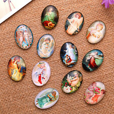 Mixed Angel Wings Ange Pattern Oval Glass Dome Seals Cabochon DIY Crafts Making