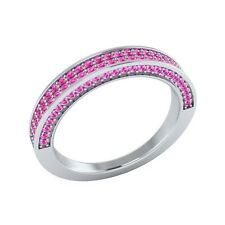 0.50 ct Real Round Pink Sapphire Solid Gold Half Eternity Wedding Band Ring