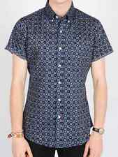 Mens New 60s Patterned Mod Retro Short Sleeve Fitted 80s Vintage Blue Shirt