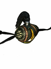 Falconry Arab Hood Hand Embroidery, Handicraft Artwork & Genuine Gemstones Green