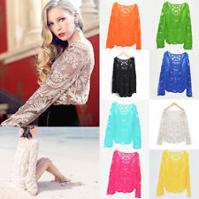 Sexy Womens Semi Sheer Sleeve Floral Lace Crochet T-Shirt Round Neck Top Blouse