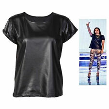New Womens Shiny Wet Look PVC PU Ladies Turn Up Short Sleeve T-Shirt Top 8 - 14