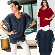 Womens Solid Lace Crochet Hollow Loose Casual Chiffon Bat Sleeve Tops Shirt