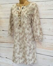 WHITE STUFF Beige Taupe Brown Cotton Palm Leaf Tunic Dress | SALE | 1/2 Price