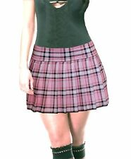 "BABY PINK  STRETCH LYCRA SCHOOLGIRL TARTAN PLAID PLEATED SKIRT 13""-13.5"" Long"