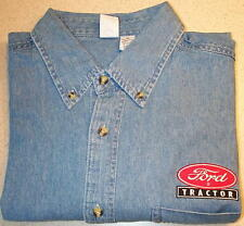 Mens Ford Tractor Logo Embroidered Denim Shirt with Pocket