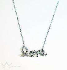 "Beautiful 925 Sterling Silver ""Love"" Necklace Cubic Zirconia 16""-18"" Chain"