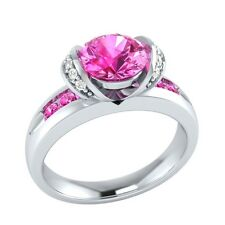 1.10 ct Natural Pink Sapphire & Diamond Solid Gold Wedding Engagement Ring