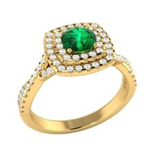 0.85 ct Natural Emerald & Certified Diamond Solid Gold Wedding Engagement Ring