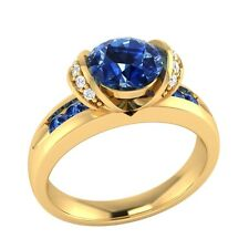 1.10ct Real Blue Sapphire & Certified Diamond Solid Gold Wedding Engagement Ring