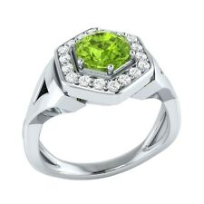 0.80 ct Natural Peridot & Certified Diamond Solid Gold wedding Engagement Ring