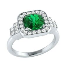 1.05 ct Natural Emerald & Certified Diamond Solid Gold wedding Engagement Ring
