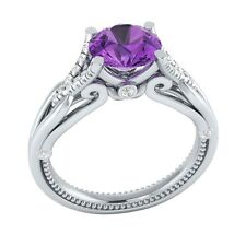1.15 ct Natural Amethyst & Certified Diamond Solid Gold wedding Engagement Ring