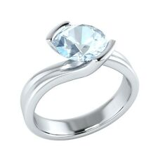 1.25 ct Solitaire Natural Blue Aquamarine Solid Gold Wedding Engagement Ring