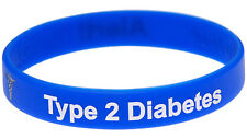 Type 2 Diabetes Alert Blue Silicone Wristband Medical Alert ID Bracelet Mediband