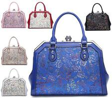 Womens Tote Faux Glossy Leather Floral Fashion Shoulder Bag Large Dolly Handbag