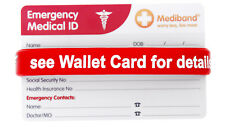 Allergy Wallet Card Red Silicone Wristband Wallet Card Medical Alert ID Bracelet