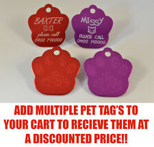 Personalised Paw Pet collar ID Tag dog cat single sided Permanently Engraved