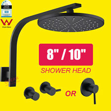 8'' 10'' Brass Matt Black Round Shower Head Gooseneck Wall Arm Mixer Tap Set