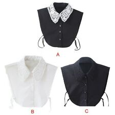Girls Women Lace Floral Shirt Collar Blouse Peter Pan Detachable Collar Fashion